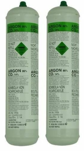 DISPOSABLE ARGON/CO2 GAS BOTTLES FOR MIG WELDING x 2 cylinders