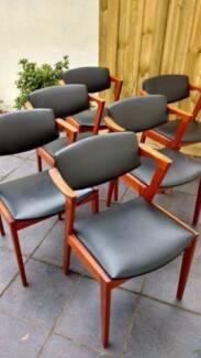 6 X Danish Mid Century Modern Teak Armchair Dining Chairs