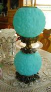 Fenton Blue Satin Lamp