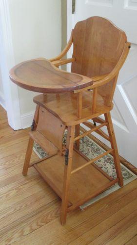 Vintage Wooden High Chair Ebay