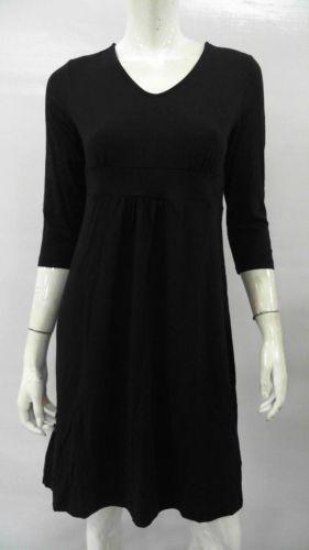 Womens 3-quarter Sleeve Velvet A-line Dress - 10 - BLACK Lands End ali3Dy44