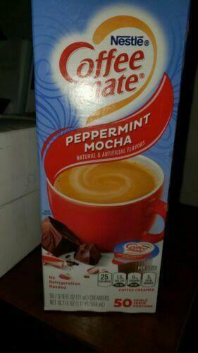 Nestle coffee mate creamer Peppermint Mocha box of 50 Total. in date