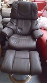 Ekornes stressless brown leather reclining chair with stool brand new