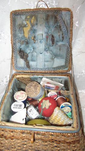 Antique Sewing Basket Ebay