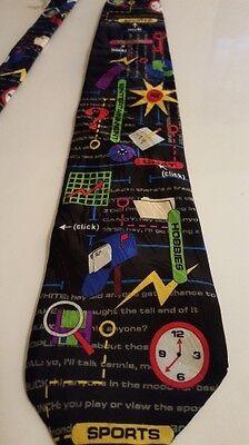 Internet Chat Room News Entertainment Sports Computer Necktie Tie 1997 Silk