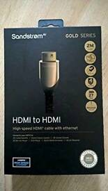 SANDSTROM (S2HDM315) Gold Series HDMI to HDMI Cable - 2 m Long