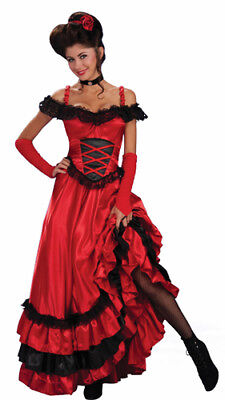 Forum Red Saloon Girl Can Can Dress Adult - Saloon Girl Halloween Costumes