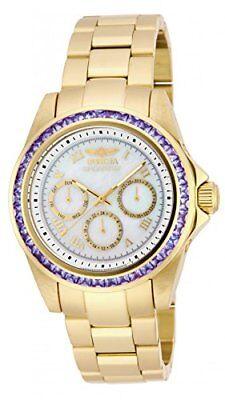 New! Womens Invicta Speedway 3.73ctw Tanzanite Gold Tone Bracelet Watch 17714