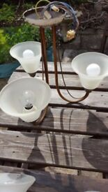 Pair of matching wall lights & 3 Arm Ceiling Pendant Light Fitting Chandelier