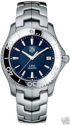 Tag Heuer Mens WJ1112.BA0570 Link Blue Quartz Stainless Steel Wrist Watch & Box