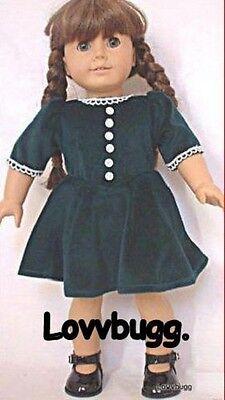"""Lovvbugg Holiday Evergreen Velvet Christmas Dress for 18"""" American Girl Molly Doll Clothes"""