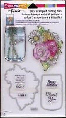 Stampendous Clear Stamps & Cutting Dies ~ Hello Birthday Mason Jar Flowers -#220