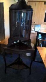 antique mahogany display unit