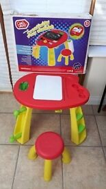 Chad Valley Creativity Play Station Table & Stool, Chalk Board/White Board/Kids