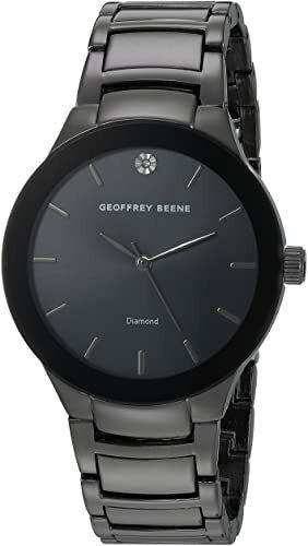 Geoffrey Beene Mens Black & Grey Bracelet Watch Gunmetal grey/black