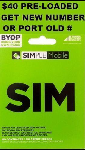 simple mobile 40 phone cards  sim cards  ebay