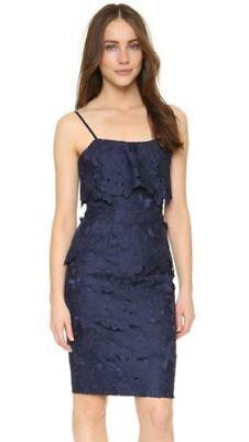 BLACK HALO 'Ora' ~ Navy Macrame Lace Popover Sheath Party Dress 2 NEW (Macrame Ring Lace)