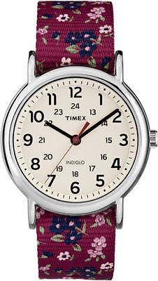 "Timex TW2R29700, Women's ""Weekender"" Floral Fabric Watch, Indiglo, TW2R297009J"