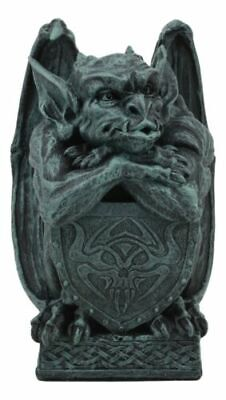 Notre Dame Gargoyle With Shield Statue Crouching Gargoyle On Celtic Pedestal