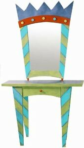 Unique and beautiful, hand painted console table & mirror