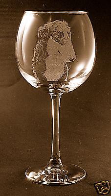 Etched Borzoi on Large Elegant Wine Glasses - Set of 2