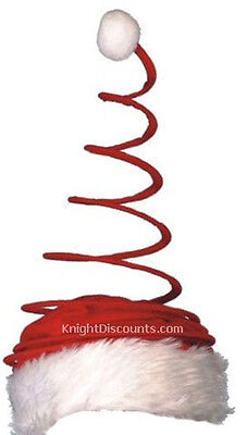 10x Santa Claus Hat COIL TWISTED Spring Christmas Caps Bulk Lot Wholesale NEW ()
