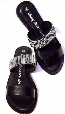 TS shoes TAKING SHAPE sz 6 / 37 Glitterati Slide black crystal bling wide NIB!