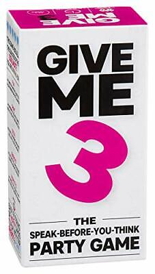 GIVE ME 3 Speak-Before-You-Think Party Game – New Conversation Starter Fast P...