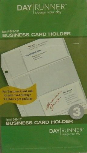 Day Runner 043-101 Side Loading Business Card Holders, Undated, Clear, 3/pk ~