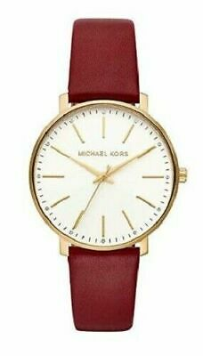 NWT Michael Kors MK2749 Womens Pyper White Dial Merlot Leather Watch NEW