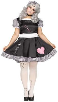 Broken Rag Doll Plus Size Ladies Fancy Dress Halloween Dolly Adults Costume New - Broken Doll Dress