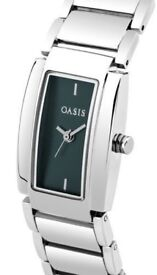 Oasis Women's Quartz Watch with Blue Dial Analogue Display and Silver Alloy BNIB RRP:£89.99