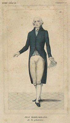 Alter kolorierter Stahlstich Portrait Jean Marie Roland