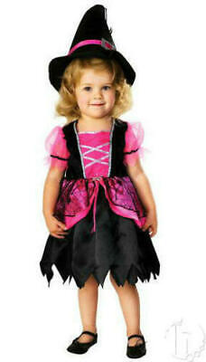 4t Witch Costume (2T 3T 4T PRETTY PINK & BLACK WITCH Toddler girls Halloween costume w/ hat)