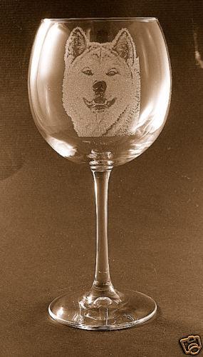 New! Etched Akita on Large Elegant Wine Glasses - Set of 2