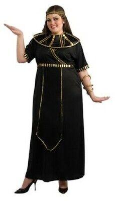 Egyptian Woman Costume 3Pc Black & Gold Dress Collar & Headband Plus Size](Egyptian Halloween Costumes Plus Size)
