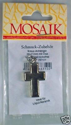 Kreuz Anhänger 38x21 mm für Liliput Keramik Mosaik