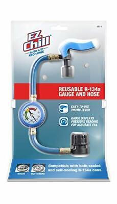 EZ Chill EZC110-4 Car Air Conditioner Hose and Gauge for R134A Refrigerant Re...