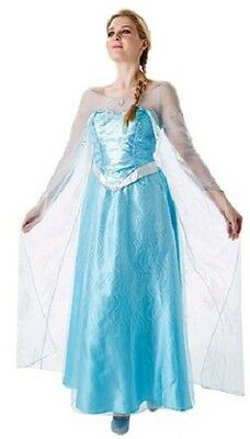 Ladies Blue Elsa Frozen Disney Princess Film Fancy Dress Costume Outfit UK (Frozen Film Kostüme)