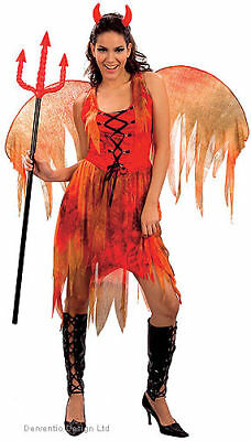 LADIES RED DEVIL FIRE FAIRY OUTFIT WING HALLOWEEN COSTUME FANCY DRESS NEW 12-14 ](Fire Fairy Costumes)