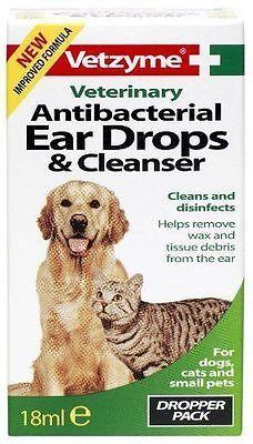 (Vetzyme Antibacterial Ear Drops & Cleanser 18ml - Veterinary Cat Dog Ear Cleaner)