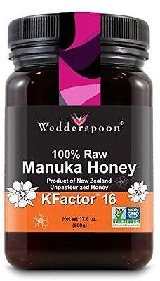 Wedderspoon 100% Raw Premium Manuka Honey Active KFactor 16+ 17.6 oz  8/2022 +