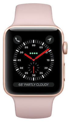 APPLE WATCH SERIES 3 38MM ROSE GOLD ALUM CASE PINK SAND SPORT BAND GPS MQKW2LL/A