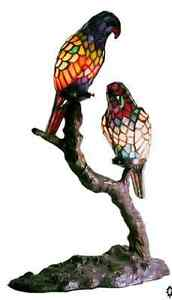 Stained Glass Lamp Tiffany Style Exotic Birds Accent Table Desk Lamps Lights NEW