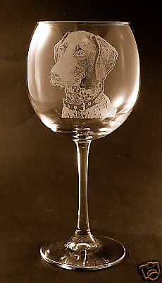 New! Etched Pointer on Large Elegant Wine Glasses - Set of 2
