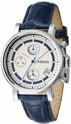 FOSSIL ES 2238 NAVY LEATHER BAND SILVER & BLUE DIAL STAINLESS CASE CHRONOGRAPH
