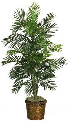 Nearly Natural 4.5 Ft. Areca Palm Silk Tree w/Basket 5263-0308 Green
