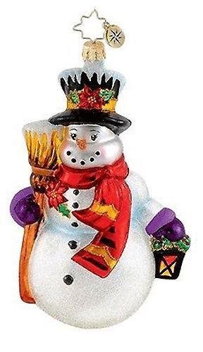Radko Snow Glow Stroll Snowman Glass Ornament Made in Poland Christmas