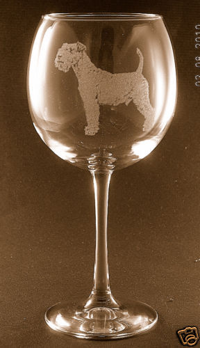 Etched Lakeland Terrier on Large Elegant Wine Glasses - Set of 2