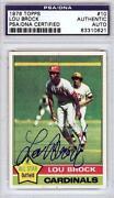Lou Brock Signed Card